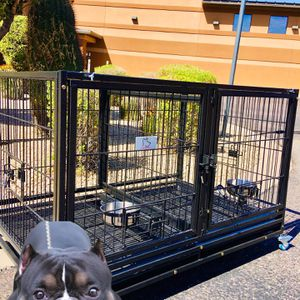 New double door Dog kennel crate cage with divider, trays and bowls 🐶 dimensions in second picture 🐶 Get It Today😱 Delivery 🚚 +10, Assembly +20 for Sale in Chandler, AZ