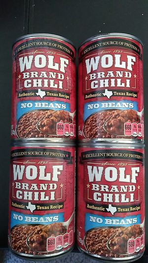 Wolf brand chili no beans for - 15 oz cans expiration February 10th 2022 all for $2 for Sale in San Diego, CA