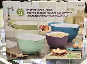 Melamine Bowls Set with lids Juegos de recipientes de melanina con tapas 5Pcs for Sale in Miami, FL