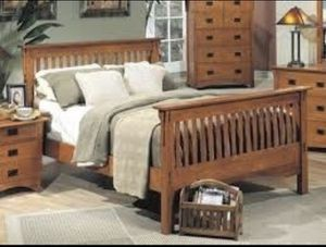 Queen bed frame - Mission Style for Sale in Foley, AL