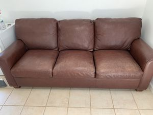 Genuine Brown Leather Couch for Sale in Palo Alto, CA