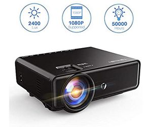 Tontion 2400 Lux Video Projector supporting 1080P -50,000 Hour LED Full HD Mini Projector, Compatible with Fire TV Stick, smartphones, HDMI, VGA, US for Sale in Los Angeles, CA