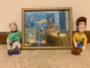 """1996 Toy Story Framed Pin Collection with Buzz & Woody """"beanies"""" for Sale in West Chicago, IL"""