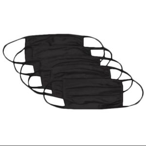 5 Black Blank Solid 2 Layer Fabric Masks New for Sale in Fremont, CA