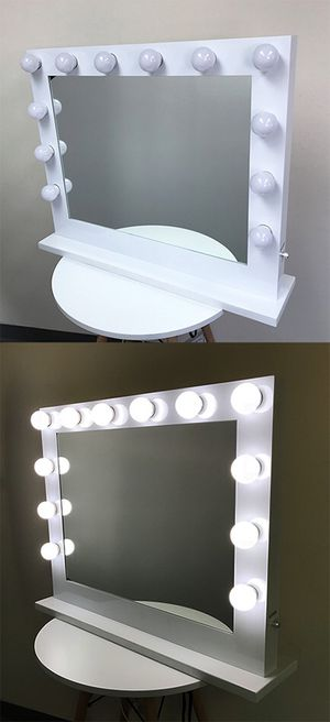 """$275 NEW X-Large Vanity Mirror w/ 12 Dimmable LED Light Bulbs, Hollywood Beauty Makeup Power Outlet 32x26"""" for Sale in Montebello, CA"""