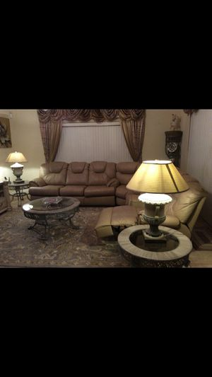 Genuine leather sleeper sofa (the whole set) 3 detailed design tables, includes 2 lamps ($350 value) all for only $900. for Sale in Kissimmee, FL