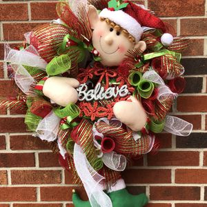 CHRISTMAS WREATH WITH HOLIDAY ELF IN CENTER for Sale in Buffalo, NY