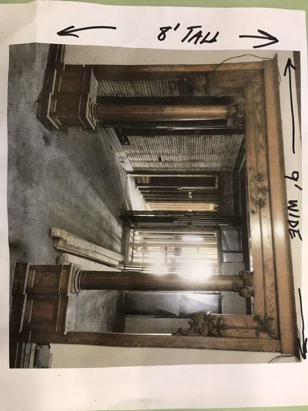 Antique Quarter Sawn Oak Colonnade Room Divider With