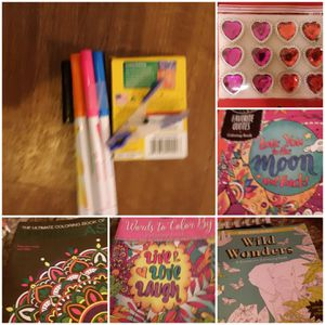 Art crafts lot now adult coloring books 8 day planner construction paper glitter poster boards glue sticks crayola markers crayons triplus gel pens for Sale in Springfield, OH