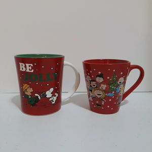 2 Peanuts Coffee Mugs Charlie Brown Christmas Be Jolly for Sale in West Palm Beach, FL