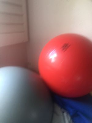 Red er exercise ball great for back stretching and yoga for Sale in San Diego, CA