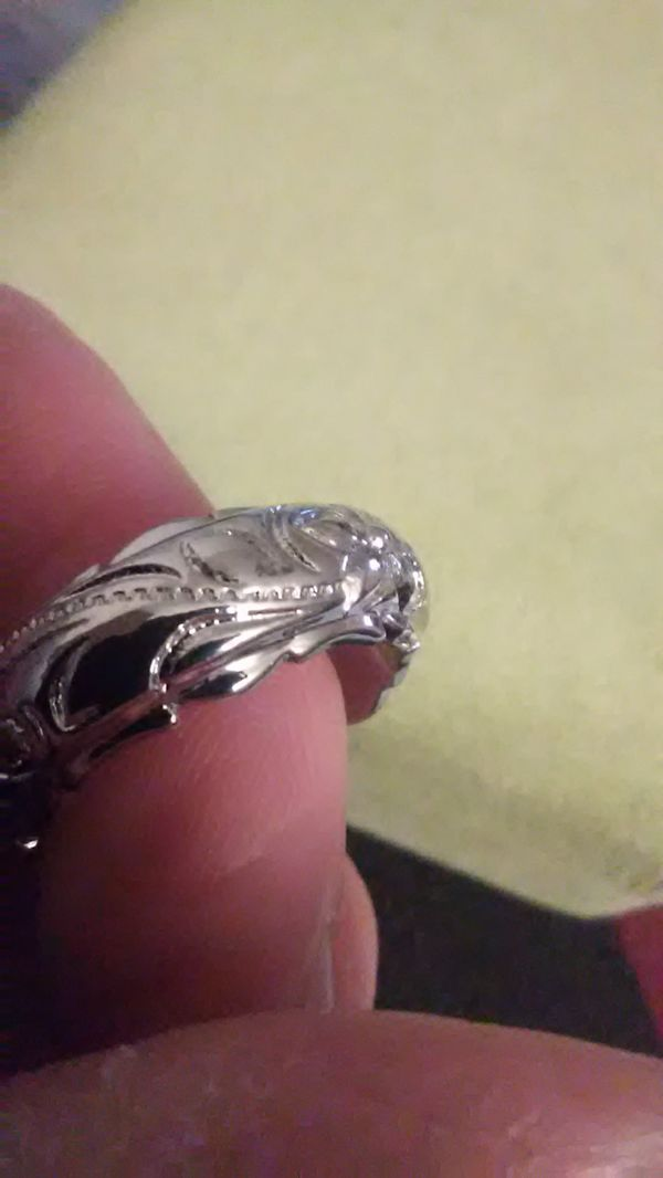 Size 10 , wedding band .18K white gold over 14 white gold over 925 sterling ring.