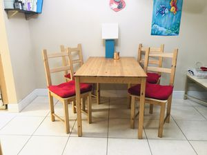 Ikea wooden kitchen table with 4 chairs for Sale in North Miami Beach, FL