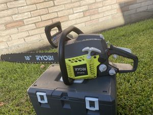 RYOBI 18 in. 38cc 2-Cycle Gas Chainsaw with Heavy Duty Case for Sale in Houston, TX