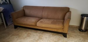 Pottery Barn Sofa Couch Microfiber (khaki/light brown) for Sale in Fort Lauderdale, FL