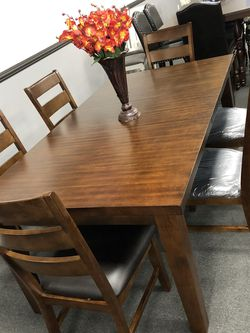 7PC Brown Dining Table Set for Sale in Fresno,  CA
