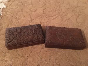 Antique hand carved wood jewelry boxes for Sale in Boca Raton, FL