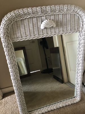 White wicker mirror for Sale in Corpus Christi, TX