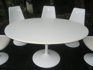White Round Formica Mid-Century Dining Table (6 ft) includes custom-made Lazy Susan for Sale in Federal Way, WA