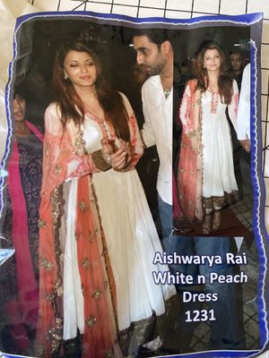 Indian Anarkali Suit as seen on Aishwarya Rai, custom tailored, white /peach/gold, Anarkali dress, drawstring pants and shawl set, new, never worn for Sale in Henderson, NV