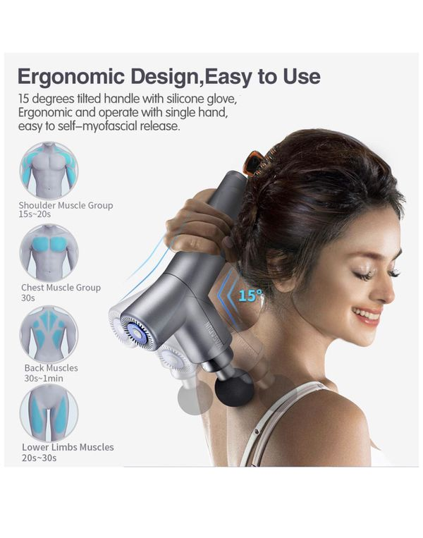Professional Handheld Vibration Massager Device with 5 Adjustable Speed, 4 Attachments, Cordless Electric Percussion Full Body Muscle Massage Equipme