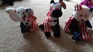 TY beanie babies Spangle 2000 bear, Righty 2000 elephant and Lefty 2000 donky for Sale in Kent, WA