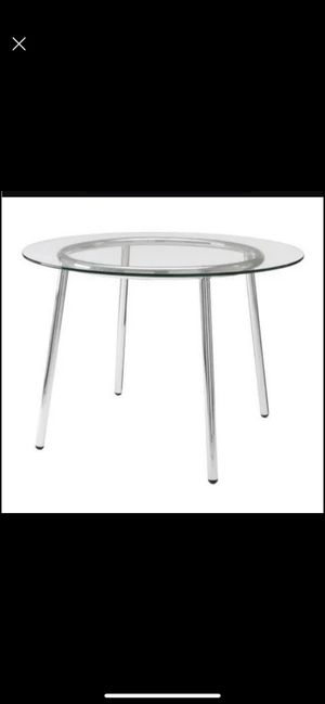 Glass table with 4 wooden chairs for Sale in Elizabeth, CO