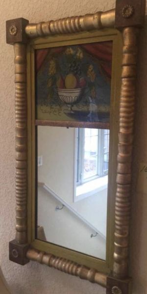 Antique Split Baluster Trumeau Mirror with Reverse Painted Panel for Sale in Denver, CO