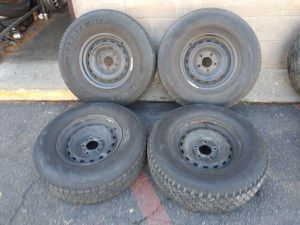 Set of four Chevy C10 Rally rims and tires, 15x6.5, 5 lugs for Sale in Montebello, CA
