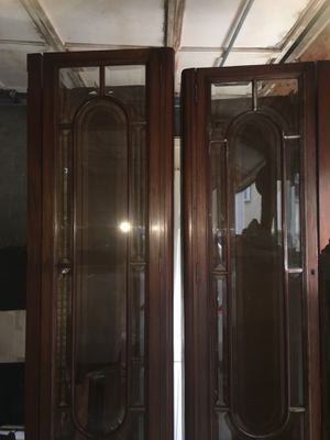 2 antique salvage English bookcases, desk, 2 extra glass doors unit for Sale in Newton, MA