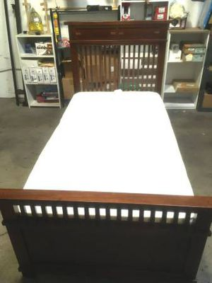 Solid Wood Twin Size Bed & Mattress. Was in a guest bedroom and never slept on. Excellent/some minors nicks/scratches. Mattress like new, no stains. for Sale in Las Vegas, NV