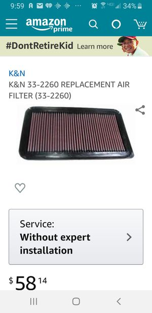 Camry K&N air filter for Sale in San Diego, CA