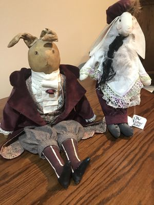 Two 'Vintage Hares' Victorian dolls w/stands. for Sale in Mason City, IA