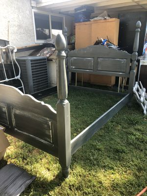 King Size Bed Frame is Painted gray and white It's solid wood. Very heavy. Would make a beautiful statement in any room / Pay Pal/ Zelle / Venmo for Sale in Rancho Cucamonga, CA