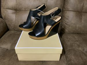 New Michael Kors Josephine Wedge Black Leather Sandals Size 8 for Sale in Sunrise, FL