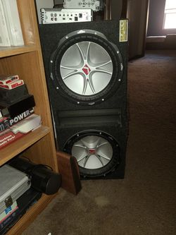 """2 Kicker 12"""" Subwoofers With 1000w Amplifier And Aftermarket Head Unit With Secret Storage for Sale in Chatham,  IL"""