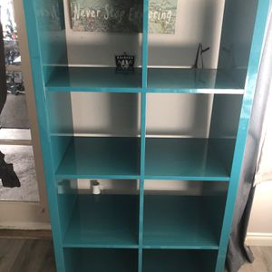 Turquoise Laquer Shelf /tv Stand $65 for Sale in San Diego, CA