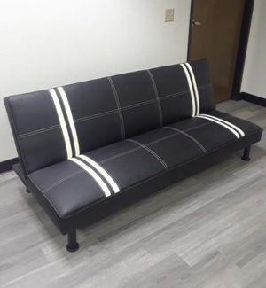 Brand New Black Striped Leather Tufted Futon for Sale in Redmond, WA