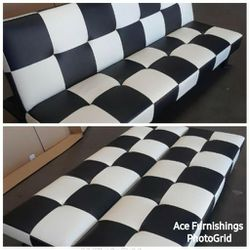 Brand New Black & White Checkered Leather Tufted Futon for Sale in Spanaway,  WA