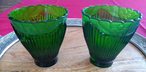 Set of 2 Dark Green Vintage Votive Candle Holders for Sale in Keller, TX