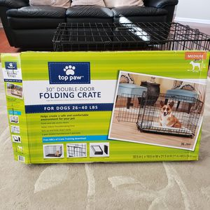"""Top Paw 30"""" Double Door Folding Dog Crate/Cage for Sale in Rochester, MI"""
