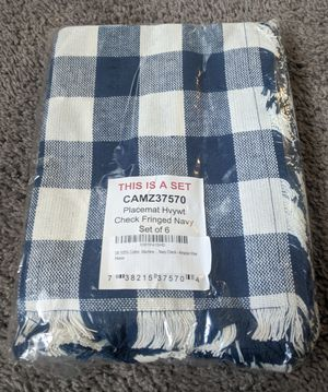 Placements - Checkered with Fringe - Blue (3), Navy (3) & Orange (3) for Sale in Plymouth, MI