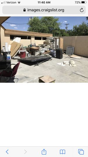 FREE! Must take everything! Commercial metal shelving, some hardware, debris, truck bed cover etc for Sale in Mesa, AZ