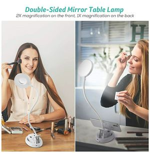 LED Desk Lamp, Dengoal Clip-on Light with Double Side Mirror, 360° Rechargeable Stepless Dimming Lamp with USB Charging Port for Sale in Baldwin Park, CA