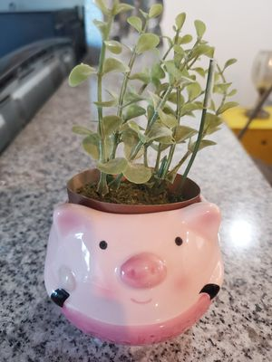 Daiso Animal Flower Pot + Fake Plant for Sale in Culver City, CA