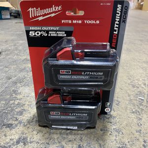 Brand new x2 Milwaukee m18 6.0 HO high output battery 48-11-1865 48-11-1862 for Sale in Gaithersburg, MD