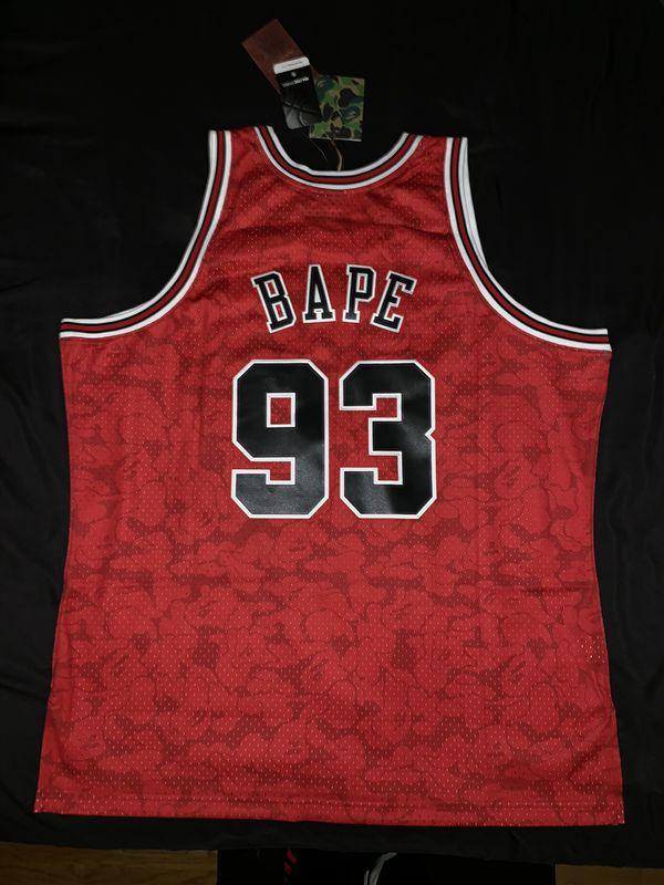 fc8595fa1be Bape Bulls Chicago NBA Mitchell & Ness Jersey Red Camo 93 New Bathing Ape