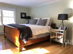 Mahogany king size sleigh bed frame solid wood originally $10k. for Sale in Westport, CT
