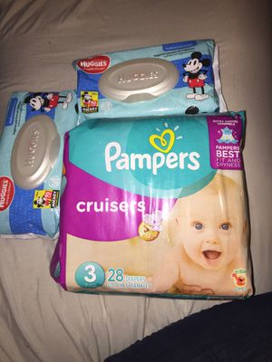Diapers Size 3 and Wipes for Sale in Los Angeles, CA