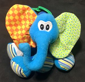 Infantino Blue elephant crinkle ears vibrating baby pull toy for Sale in Lancaster, OH